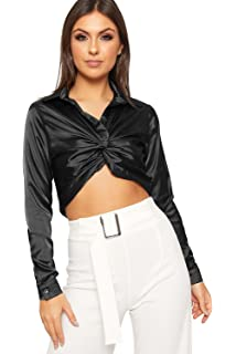 079d6400f1 WearAll Women s Ruched Twist Knot Front Long Sleeve Satin Crop Top Ladies  Shirt Button ...