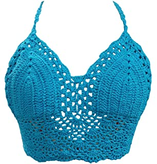 1459da73dae193 Amazon.com  ROPALIA Women Crochet Lace Bralette Knit Bra Boho Beach ...