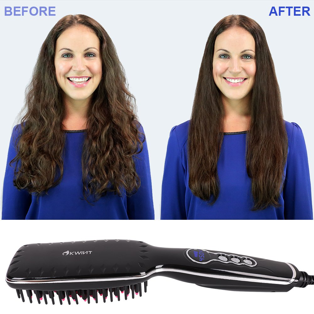 Hair Straightener Brush, OKWINT Ionic Straightening Brush with Anti-Scald Feature,Adjustable Temperatures, Auto-off Function by OKWINT (Image #2)