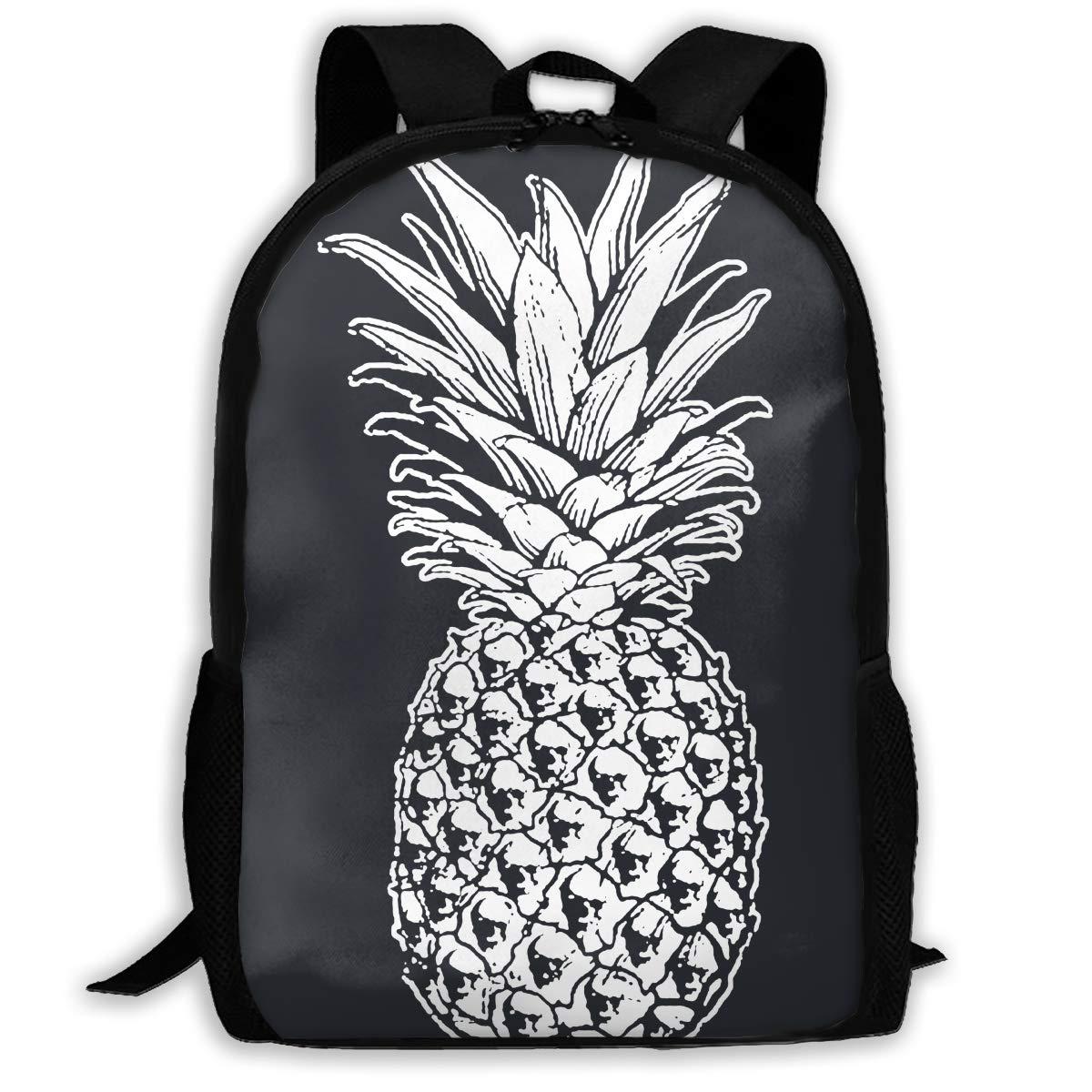 Dolores Marguerite スカルパイナップルバックパック 防水 軽量 ハイキング デイパック One Size ブラック backpack-4262427-Black-48 One Size ブラック B07JL5R8P6