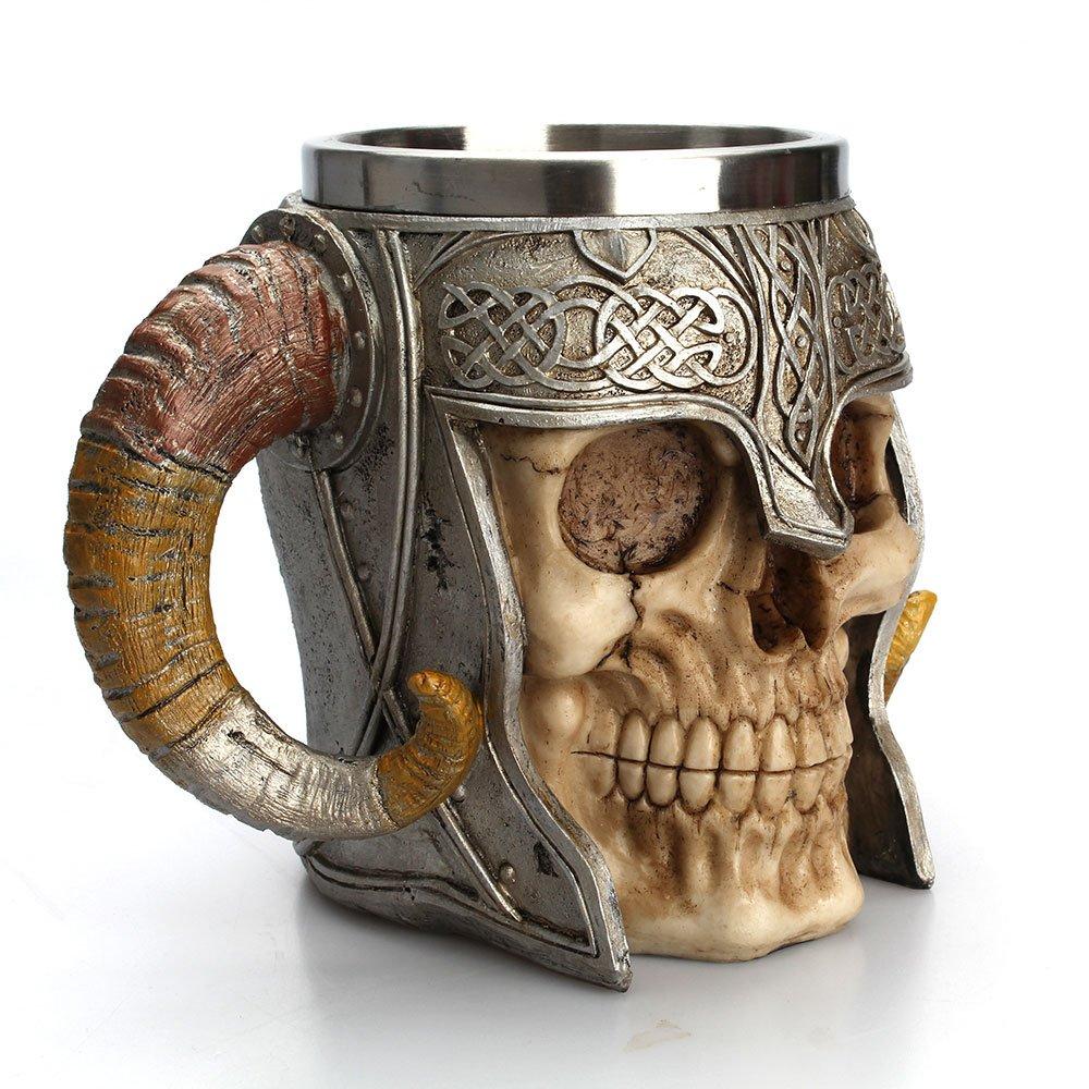 Skull Mug ,Pawaca Stainless Steel 3D Skull Cup, Stainless Steel Skull Coffee Mug for Beverage,Coffee,Beer,Blood Juice, Medieval Viking Warrior Skull Armor Drinkware Mug, Party Trick Cup