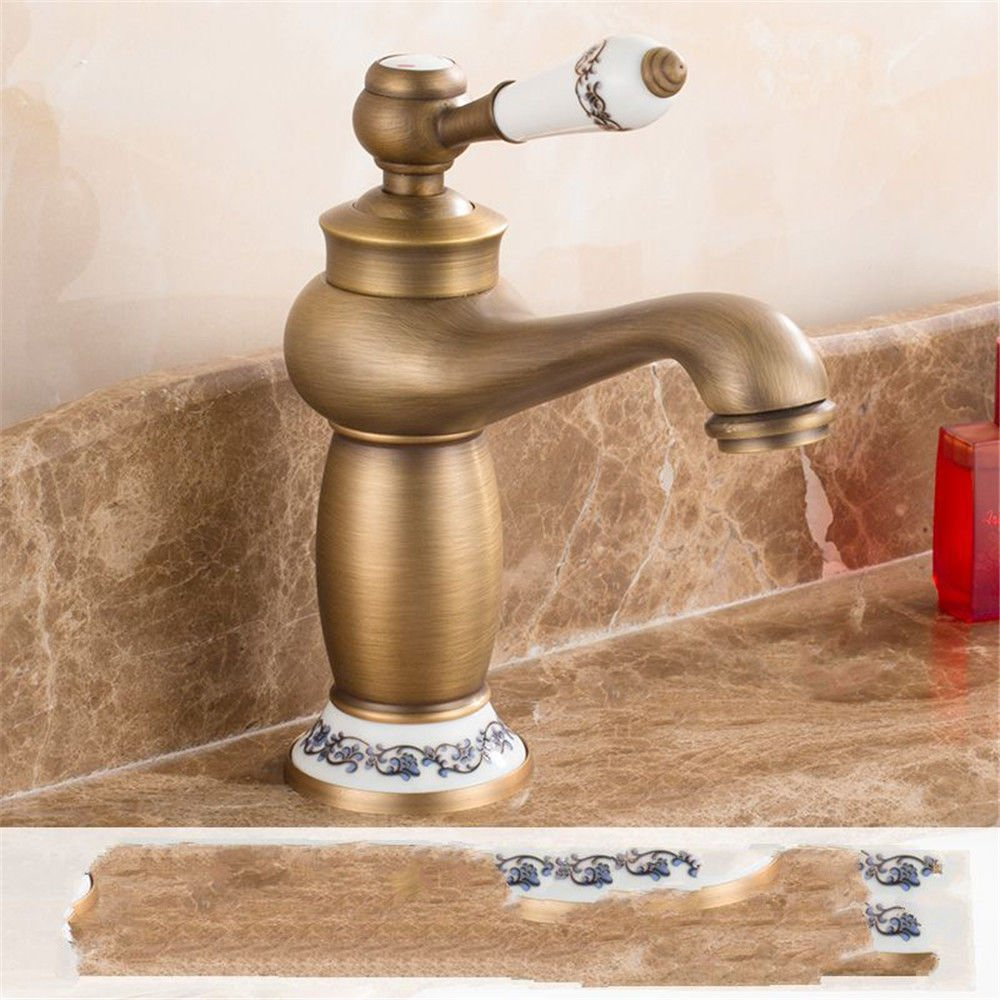K LHbox Basin Mixer Tap Bathroom Sink Faucet Basin-copper antique golden basin pink gold bluee enamel hot and cold redary table basin chrome sink faucet, B