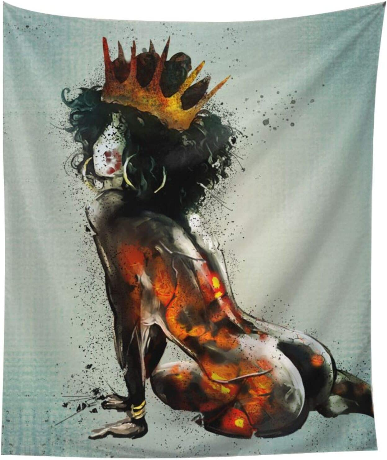 AKUROOU African American Girl with Crown Tapestry Queen Wall Hanging Black Women Tapestry Curtains for Bedroom Home Dorm Decor 60 x 51 inches