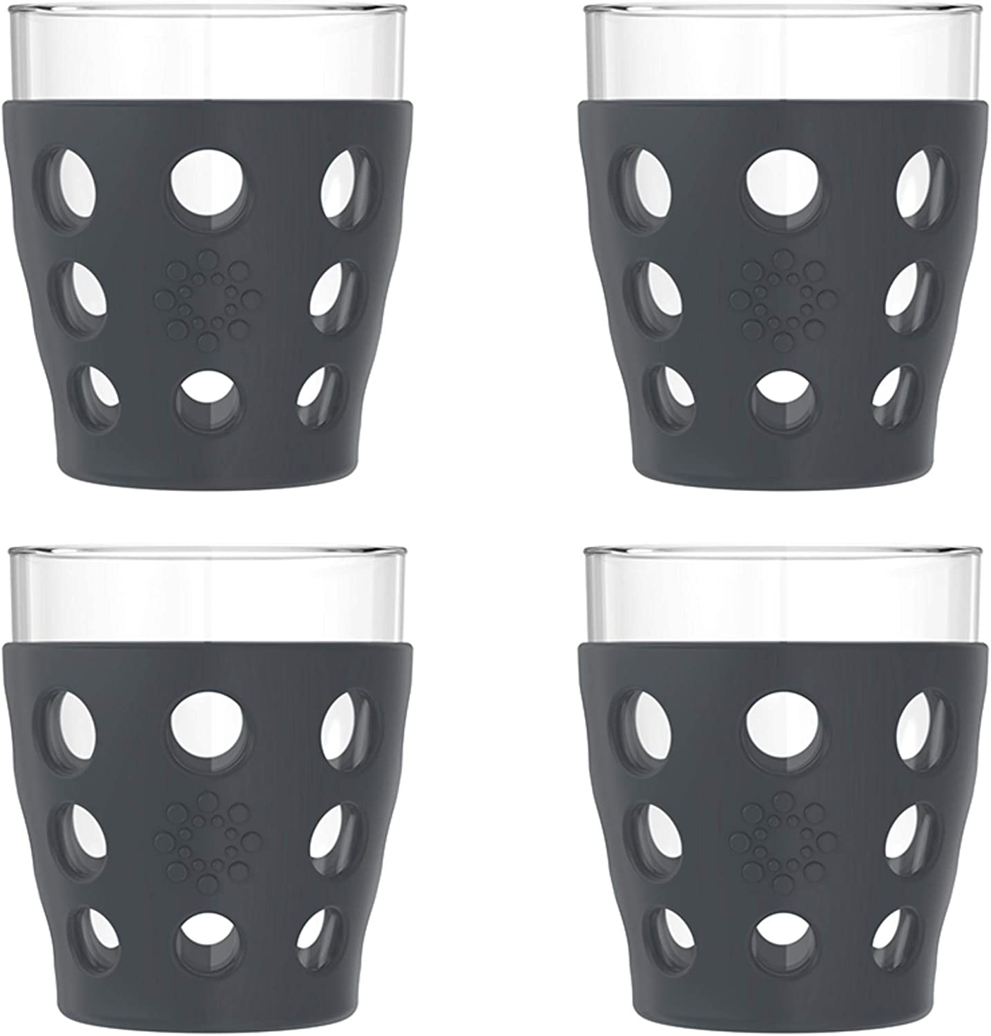 Lifefactory 10-Ounce BPA-Free Indoor/Outdoor Protective Silicone Sleeve Beverage Glass, 4-Pack, Carbon