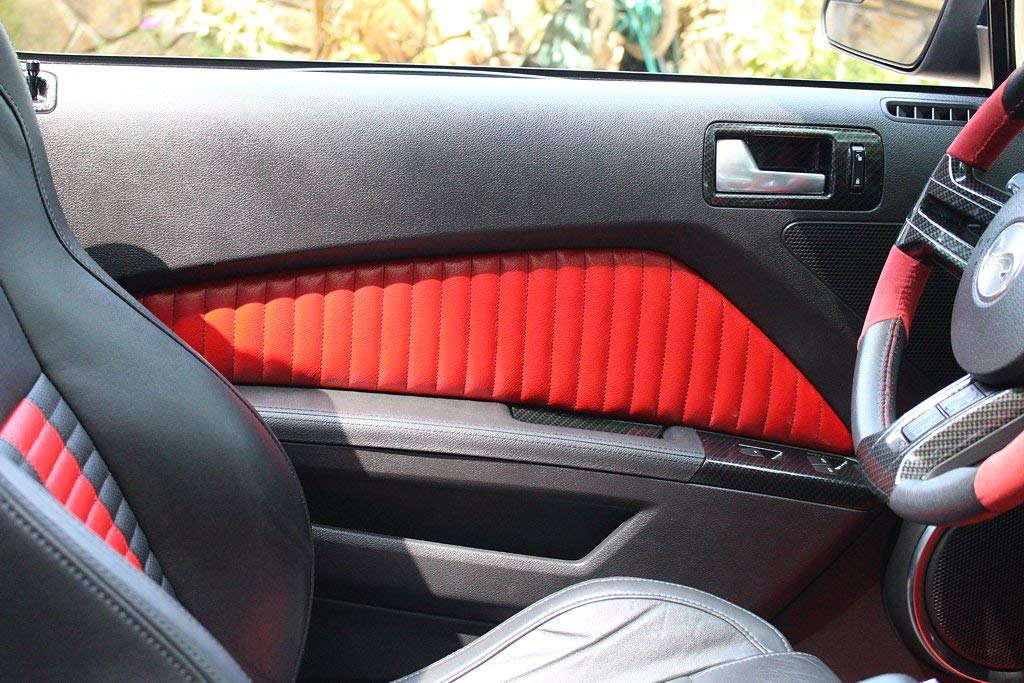 Black Alcantara-Red Thread RedlineGoods Door Insert Covers Compatible with Ford Mustang 2010-14