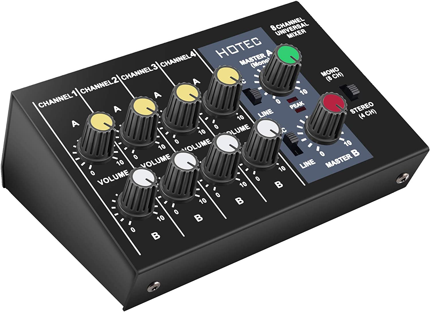 Hotec 8 Channels Audio Mixer, Mono Stereo Sound Mixer for Club, Bar, Recording, DJ, Stage, Karaoke Microphones, Guitars, Bass, Keyboards