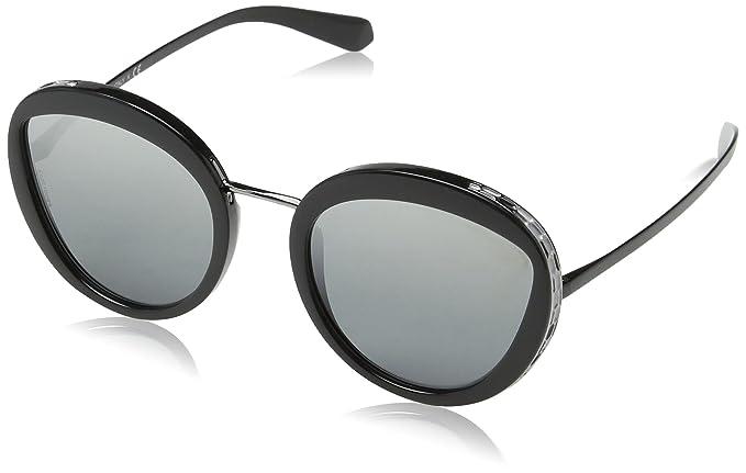 Bulgari BVLGARI Damen Sonnenbrille 0BV8191 901/6G, Schwarz (Black/Greymirrorsilvergradient), 52