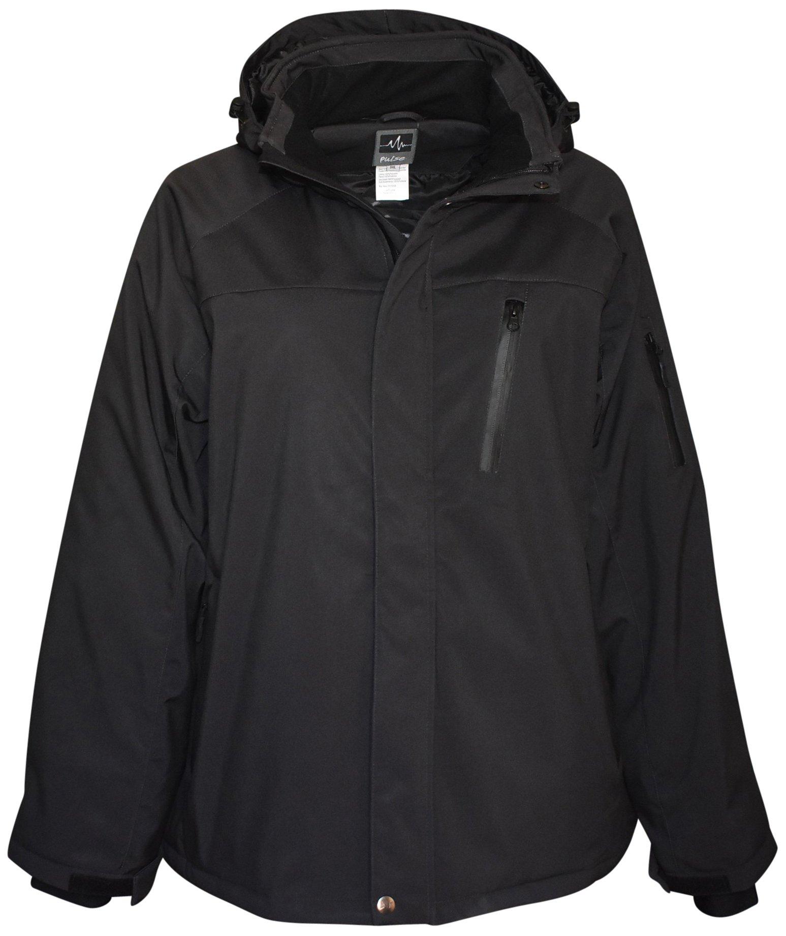 Pulse Mens Big Sizes Insulated Soft Shell Jacket (5XL, Onyx Black)