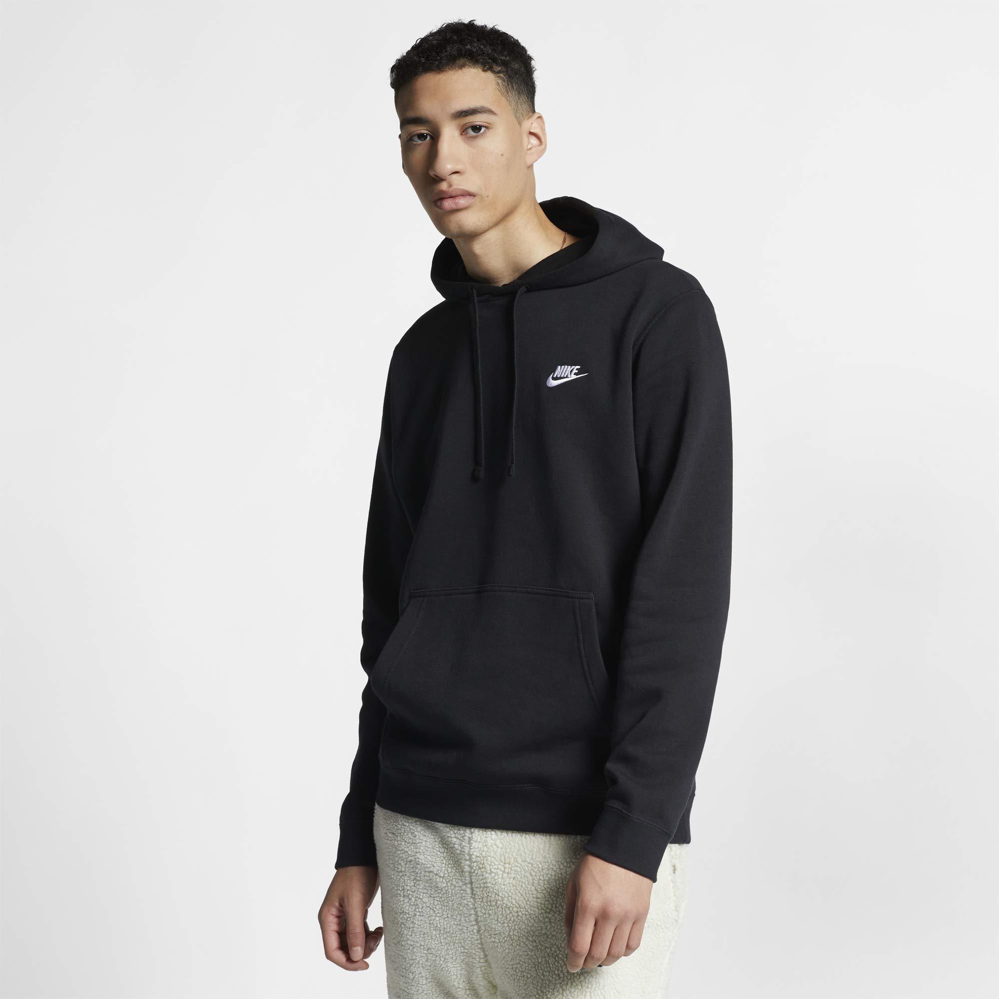 Men's Nike Sportswear Club Pullover Hoodie, Fleece Sweatshirt for Men with Paneled Hood, Black/Black/White, M