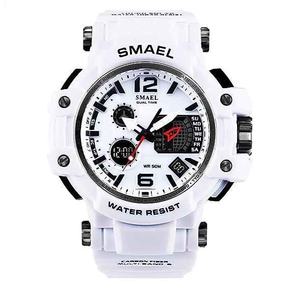 AnazoZ Reloj Multifunción Reloj Deportivo Reloj Impermeable Reloj de Doble Pantalla Reloj Hombre Relojes LED Relojes Electronicos Blanco: Amazon.es: Relojes