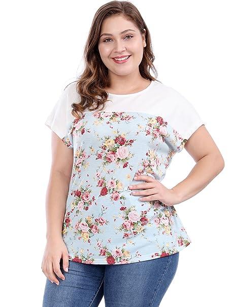 Allegra K Blusa Top De Verano Camisa Estampada Floral Manga Dolman Talla Extra para Mujer -