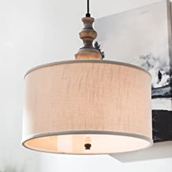 """Contemporary Round Chandelier Suitable For Dining Rooms, Kitchen Areas, and Office Spaces. Elegant 20"""" Drum Light Fixture Emits Soft Lighting. Circular Hanging Lamp With Ivory Shade Creates Comfort."""