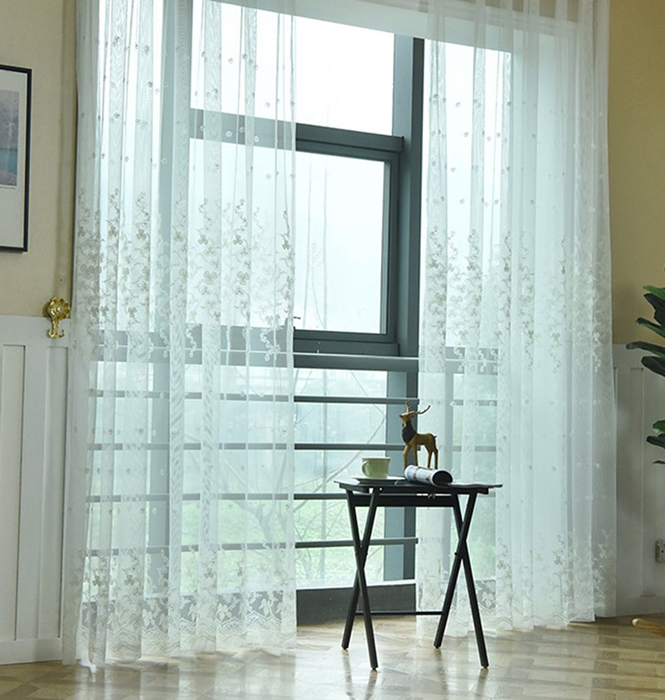 Aside Bside Permeable Window Decoration Rod Pocket Top Leisure Style Sheer Curtains Blossom Ivy Embroidered For Kitchen Houseroom and Sitting Room (1 Panel, W 52 x L 104 inch, White)