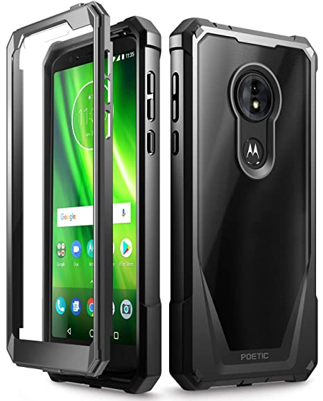 detailed look 5a4d6 f8029 Moto G6 Play Case, Moto G6 Forge Case, Poetic Guardian [Scratch Resistant  Back] Full-Body Rugged Clear Hybrid Bumper Case with Built-in-Screen ...