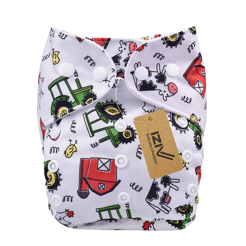 iZiv(TM) Newborn Organic with 1 Thick Insert Infant Waterproof/Adjustable/Reusable/Washable Pocket Cloth Diaper Fit Babies 0-3 Years (Color-6) Dlife