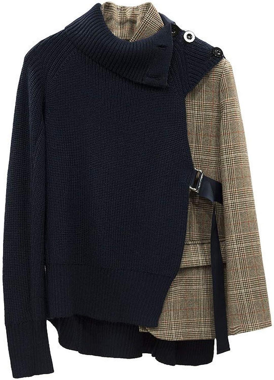Patchwork Plaid Jackets for Women Irregular Long Sleeve Collar Women Jacket Fashion
