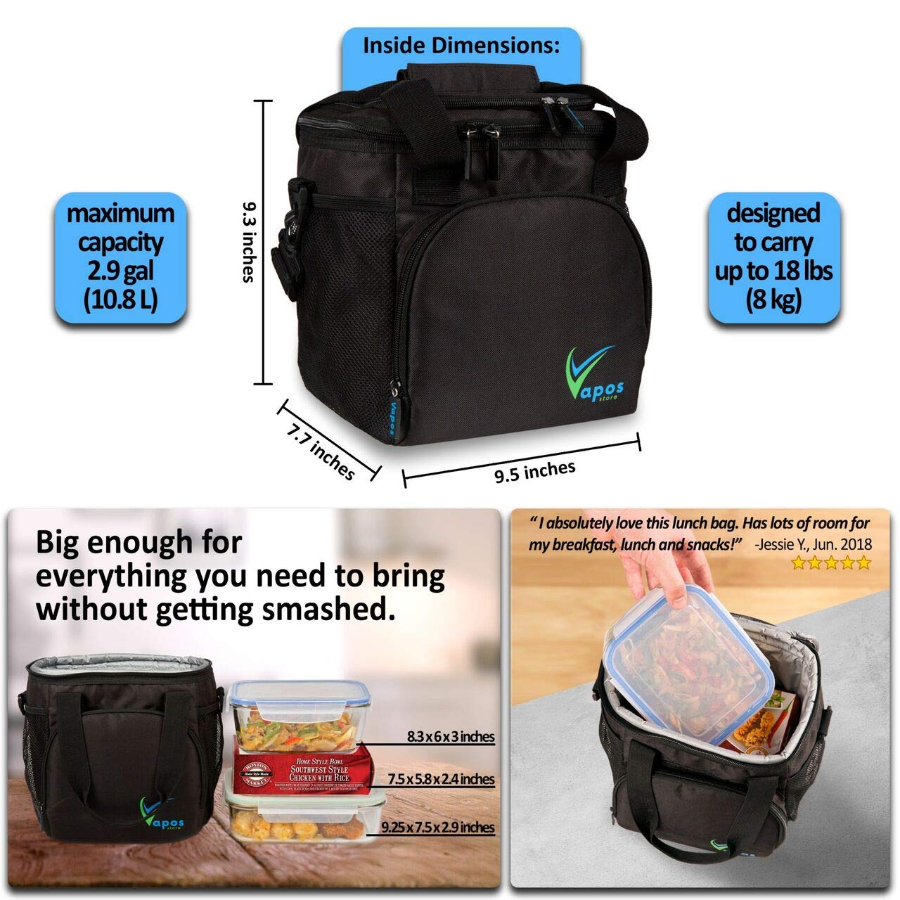 5926311cb3 Amazon.com  Large Insulated Lunch Bag for Men and Women with Room for More  Meals and Snacks. Keeps Food Hot Cold for 8h. Functional Lunch Box for  Adults ...