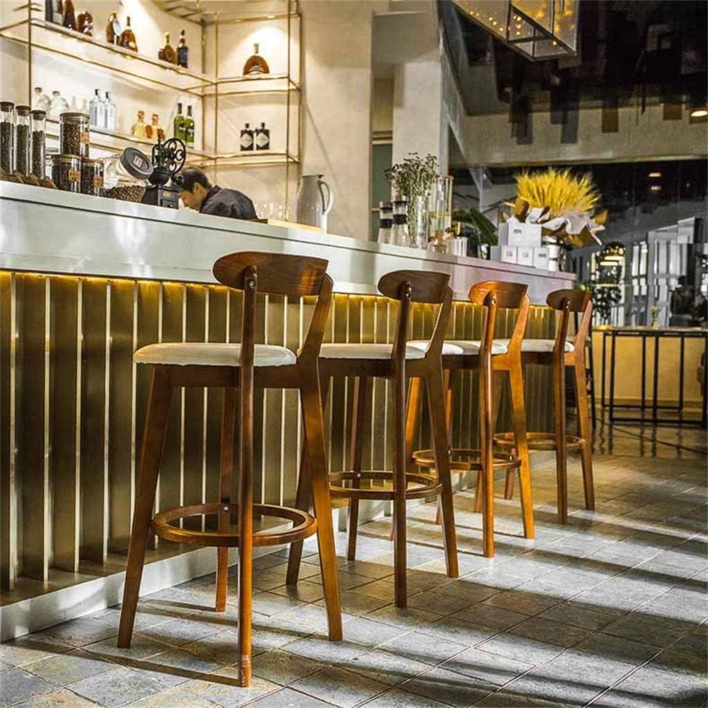 Barkruk, Set Van 2 Houten Frame Comfortabel Barkruk Met Rugleuning Scandinavische Stijl Ontbijtkruk Voor Cafe Keuken (Color : Light grey) Dark gray