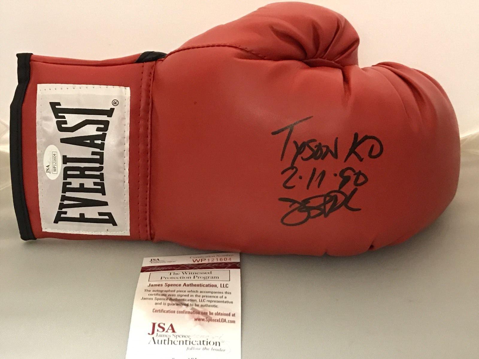 "Autographed/Signed James Buster Douglas""Tyson KO 2 11 90"" Red Everlast Boxing Glove JSA COA"