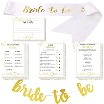 bridal shower games with bride to be gold banner bride to be sash