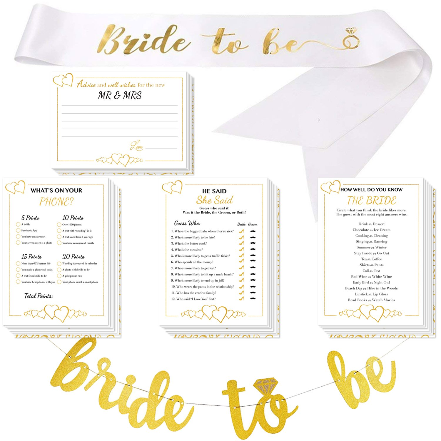 Bridal Shower Games with Bride-to-be Gold Banner & Bride to be Sash - 50x5 Wedding Party Cards | Alpine Celebrations