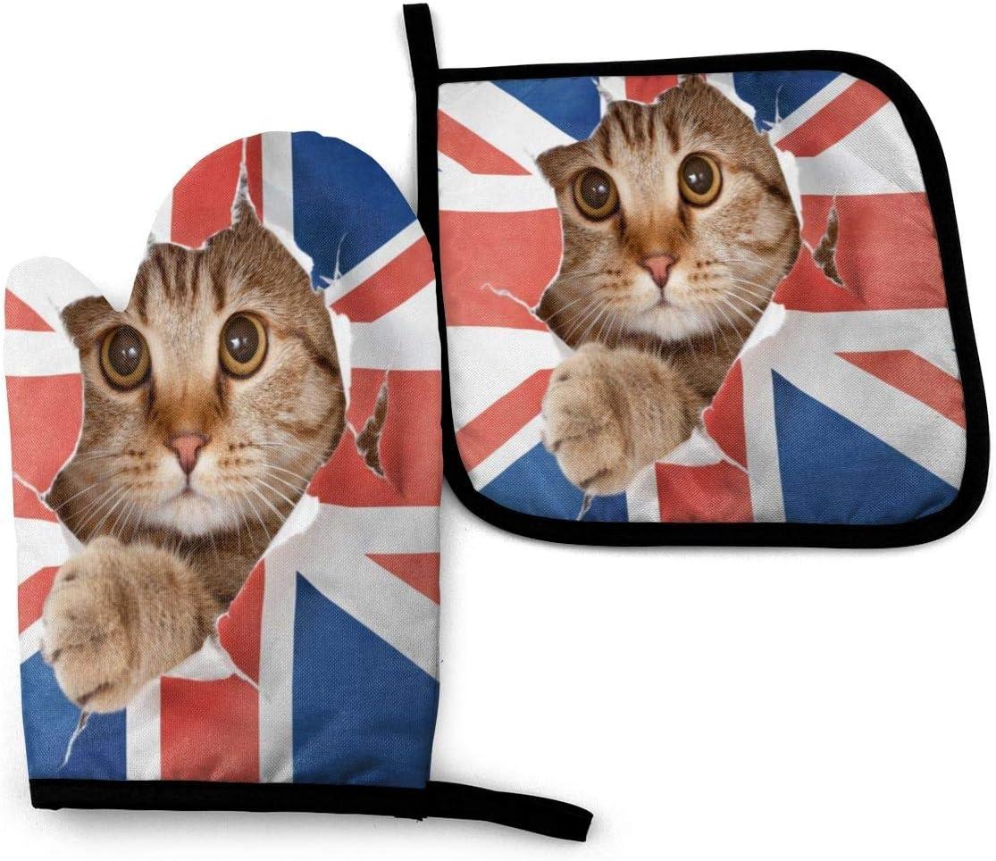 BJHAP Oven Mitt and Pot Holder Set Funny Cat UK British Flag Heat Resistant Kitchen Gloves Potholder