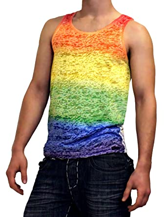 2acd2167d579f0 Amazon.com  Rainbow Gay Pride Burnout Tank Top  Clothing