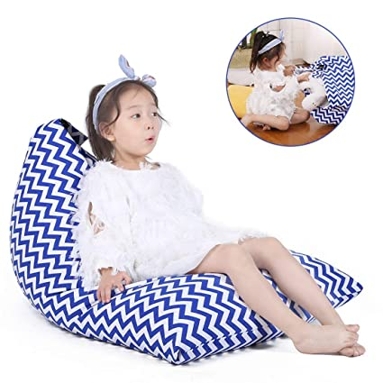 Fabulous Stuffed Animal Bean Bag Storage For Kids And Adults Premium Canvas Bean Bag Chair Cover Cover Only Chevron Print Blue 100L 26 Gal Inzonedesignstudio Interior Chair Design Inzonedesignstudiocom