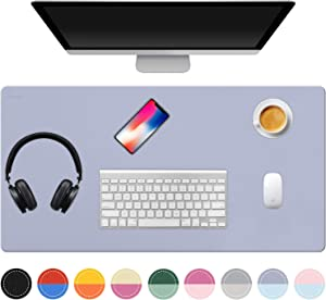 "TOWWI Dual Sided Desk Pad, 36"" x 17"" PU Leather Desk Mat, Waterproof Desk Blotter Protector Mouse Pad (Purple/Blue)"