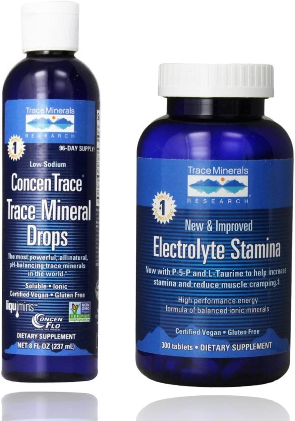 Trace Minerals Research - Concentrace Trace Mineral Drops, 8 fl oz Liquid & Research Performance Electrolyte Stamina, High Performance Energy Formula, 300 Tablets - Bundle Pack Exclusive