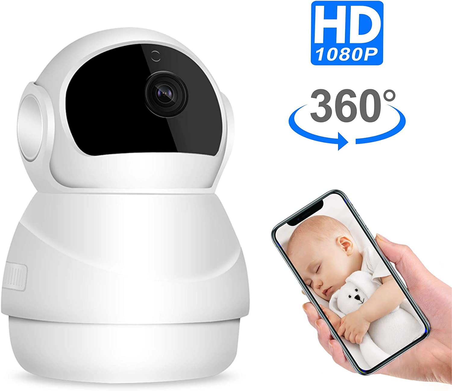 Pet Camera, Nanny Cam, Wireless IP Camera, WiFi 1080P HD Indoor Home Security Camera with Two Way Audio and Video, Night Vision Camera for Dog Cat Elder Baby Monitor, Pan Tilt Zoom Function
