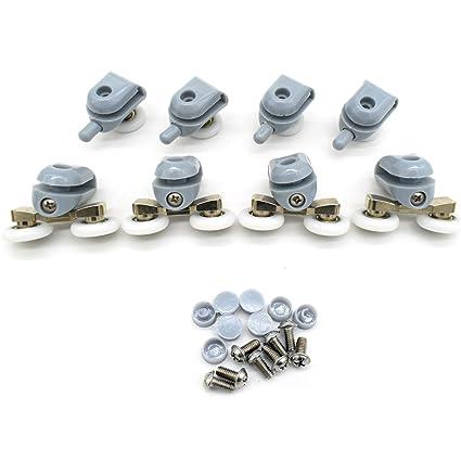 Rodamientos dobles para mamparas de ducha, 22 mm de diámetro; piezas de repuesto para