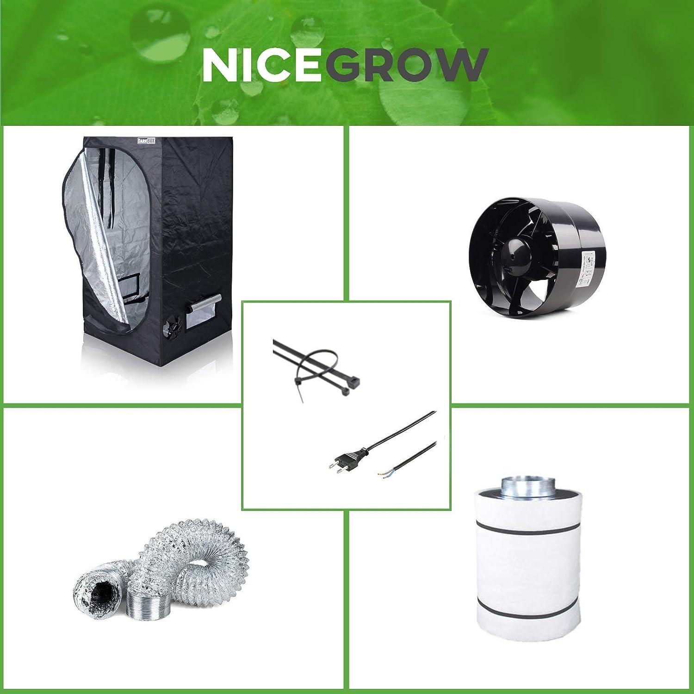 Nice Grow Growzelt Abluft-Set Dark Box 80 Black Orchid Axial Flo 135cbm/h Aktivkohlefilter