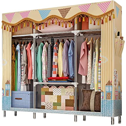 AQAWAS Portable Storage Closet With Zippers, Bedroom Cloth Wardrobe Closet  Clothes Storage Rack, No