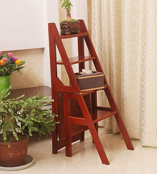 QQXX Taburetes de Madera de bambú Interior Plegable Marco de Madera Maciza Ascendente Escalera de 4 escalones de Doble Uso (Color: A): Amazon.es: Hogar