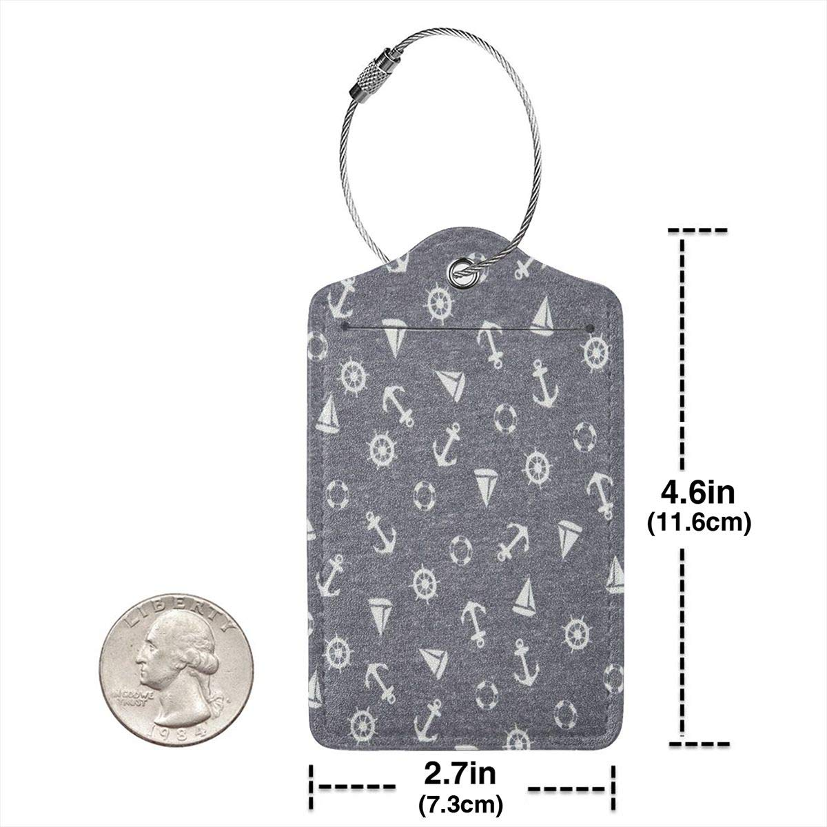 Salty Anchor Luggage Tags With Full Back Privacy Cover W//Steel Loops
