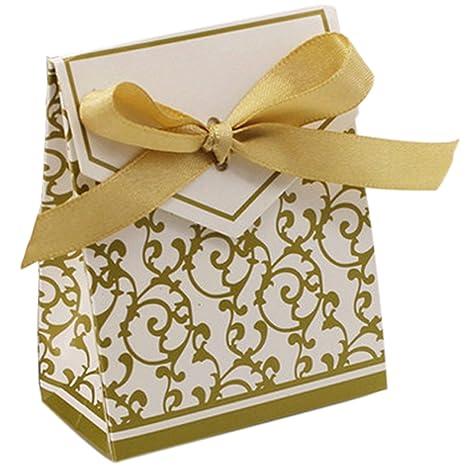 fairysu 10 piezas cajas de regalo con cinta de seda para fiestas, bodas, regalos