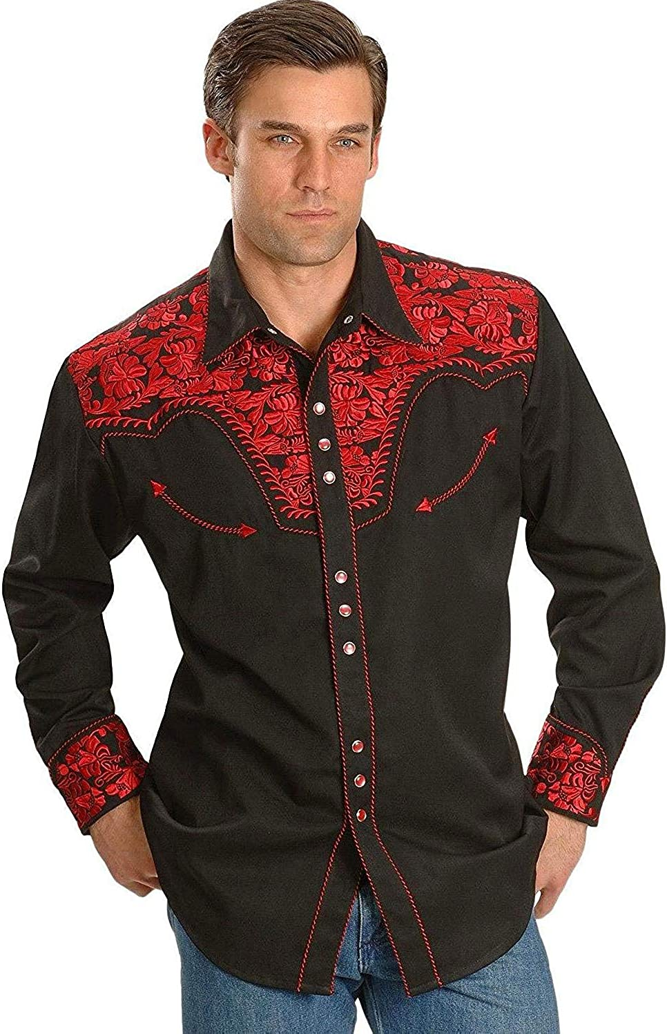 Scully Men's Crimson Floral Embroidery Retro Western Shirt Big and Tall - P-634Cri_X