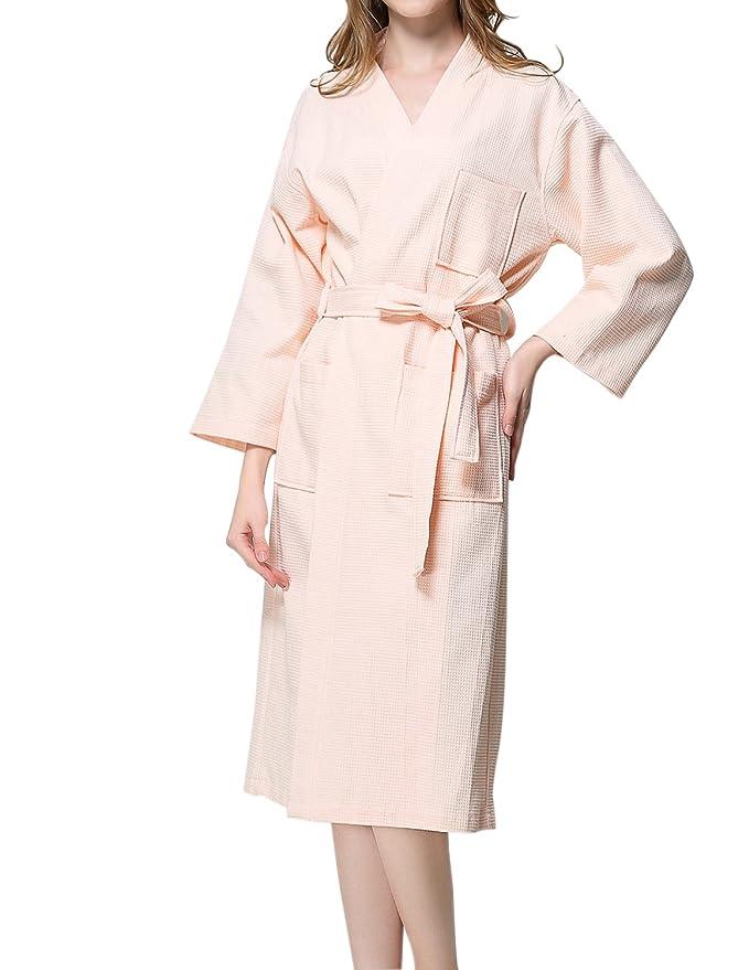 e2bd8749ee Dramaticbuying Women s Kimono Robes Soft Waffle Weave Wrap Long Cotton  Bathrobes at Amazon Women s Clothing store