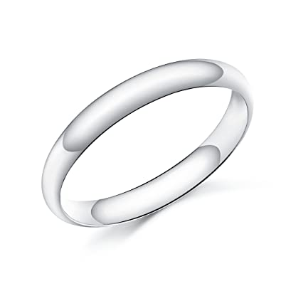 3mm D-Shape Heavy Silver Wedding Band Ring In Sizes Complete With Gift Ring  Box 6a380c3fcf4a