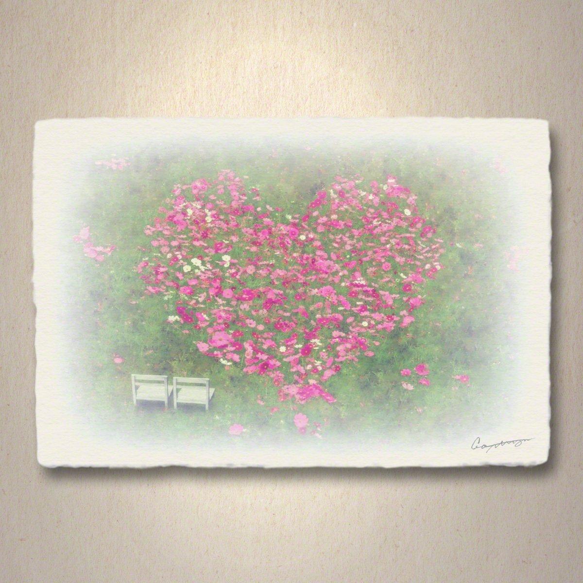 和紙 アートパネル 「ハートのコスモスの花畑と白い椅子」 (54x36cm) 結婚祝い プレゼント 絵 絵画 壁掛け 壁飾り インテリア アート B076NRBH1Q 15.アートパネル(長辺54cm) 29800円|ハートのコスモスの花畑と白い椅子 ハートのコスモスの花畑と白い椅子 15.アートパネル(長辺54cm) 29800円