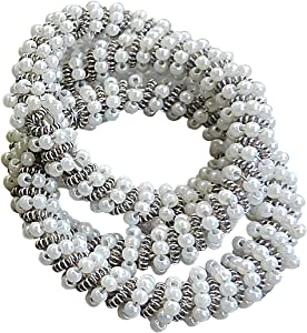 Trunkin Set of 4 White Silver Colored Iron/Glass Bead Triple Ring Napkin Rings for Dinner Table Decoration | Parties, Holidays, Weddings | Banquet Table Décor | Casual/Formal Occasions | Home Décor