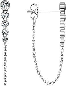 Adramata Pendientes de plata de ley 925 con cadena de circonita cúbica pavimentada, chapados en oro de 18 quilates, hipoalergénicos, para mujer
