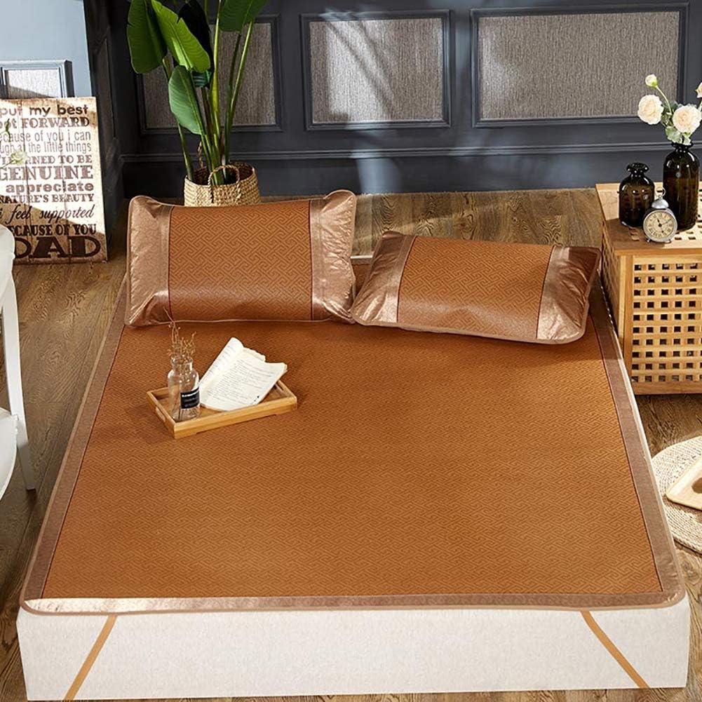 HEAlesd 3pcs Rattan Mattress Topper Pad Cooling Summer Sleeping Mat and Pillow Shams Sets,200220cm