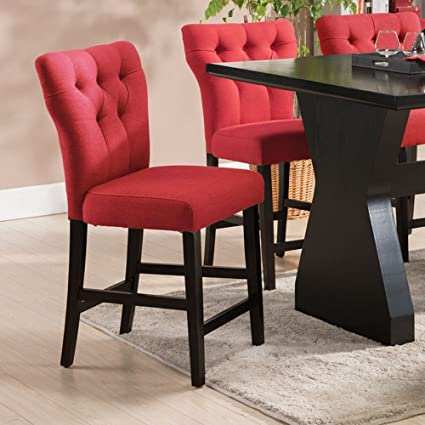 Beau Acme Furniture ACME Effie Red Linen Counter Height Chair Set Of 2