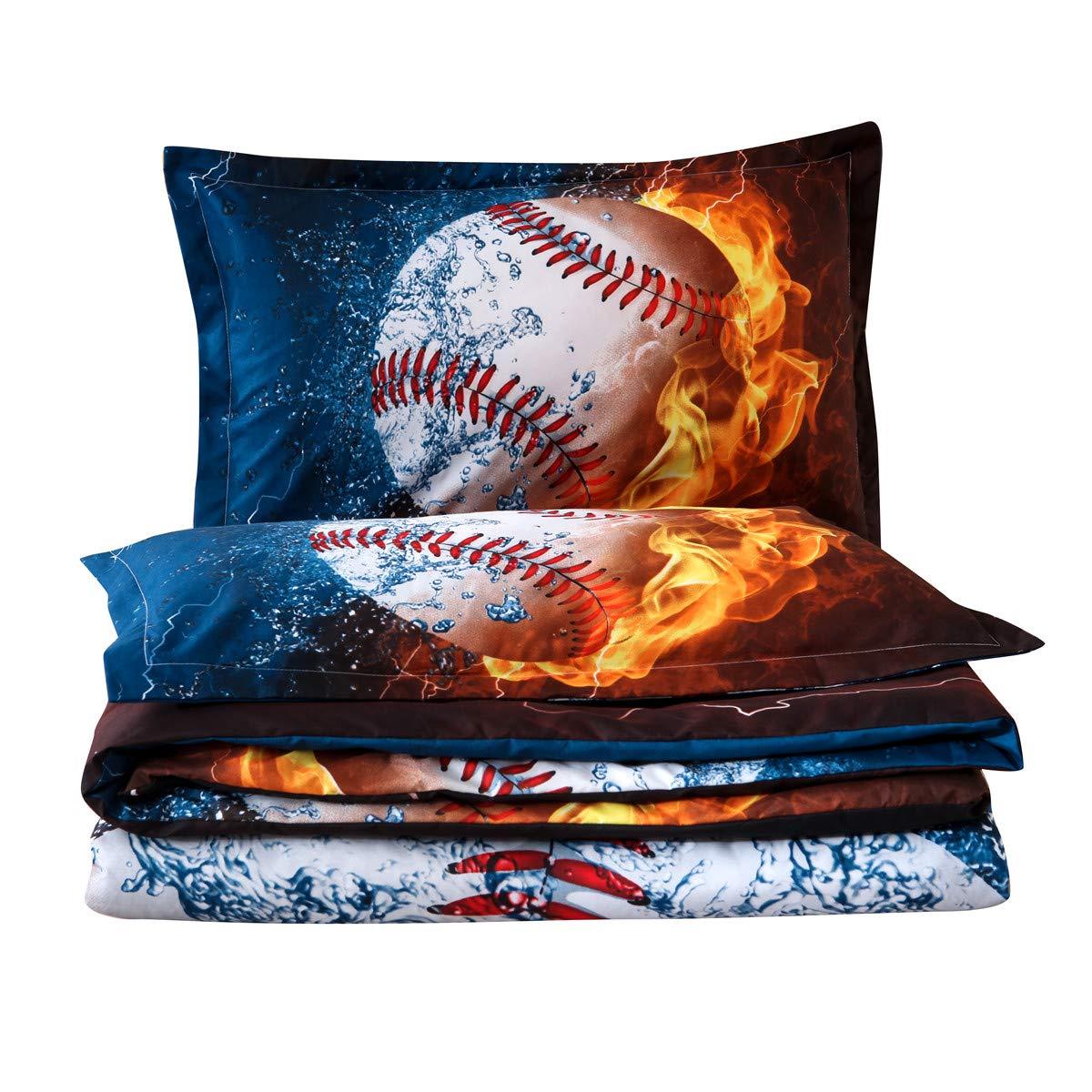 NTBED Sports Baseball Comforter Set for Boys Teens Soft 3D Microfiber Bedding Reversible Quilt Sets Full