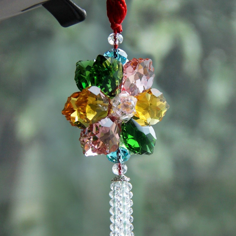 Daphot-Store - Car Styling Maple Leaf Luxury Lucky Blessing Flower Crystal Car Pendant Car Accessories Hanging Ornament For Car Rearview Mirror