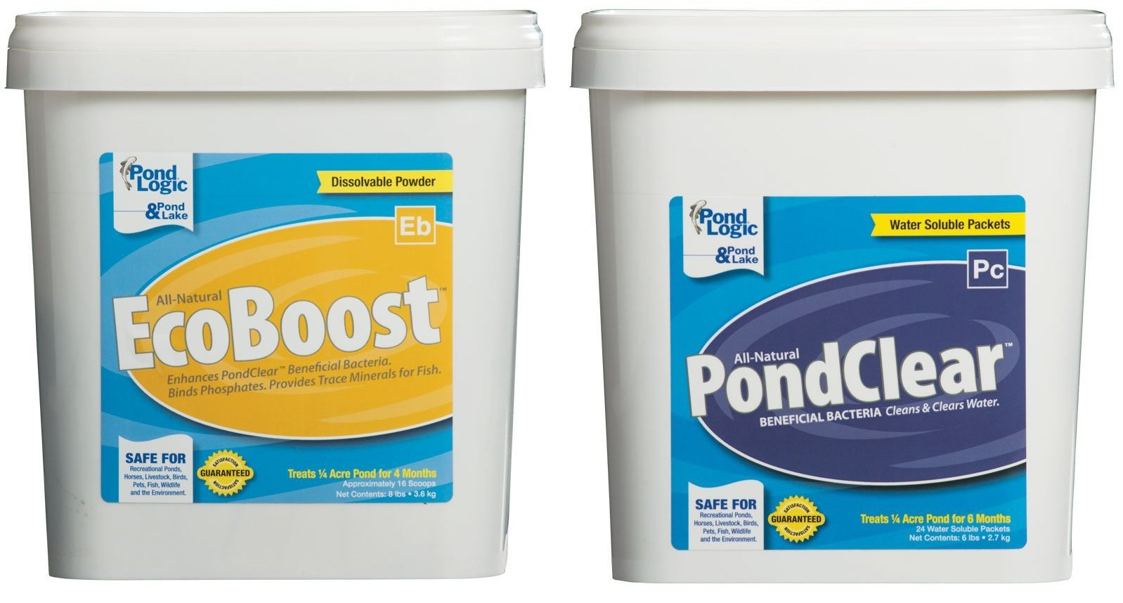 Pond Logic PondClear, 24 Pkts & EcoBoost 16 Scoops Combo by Pond Logic