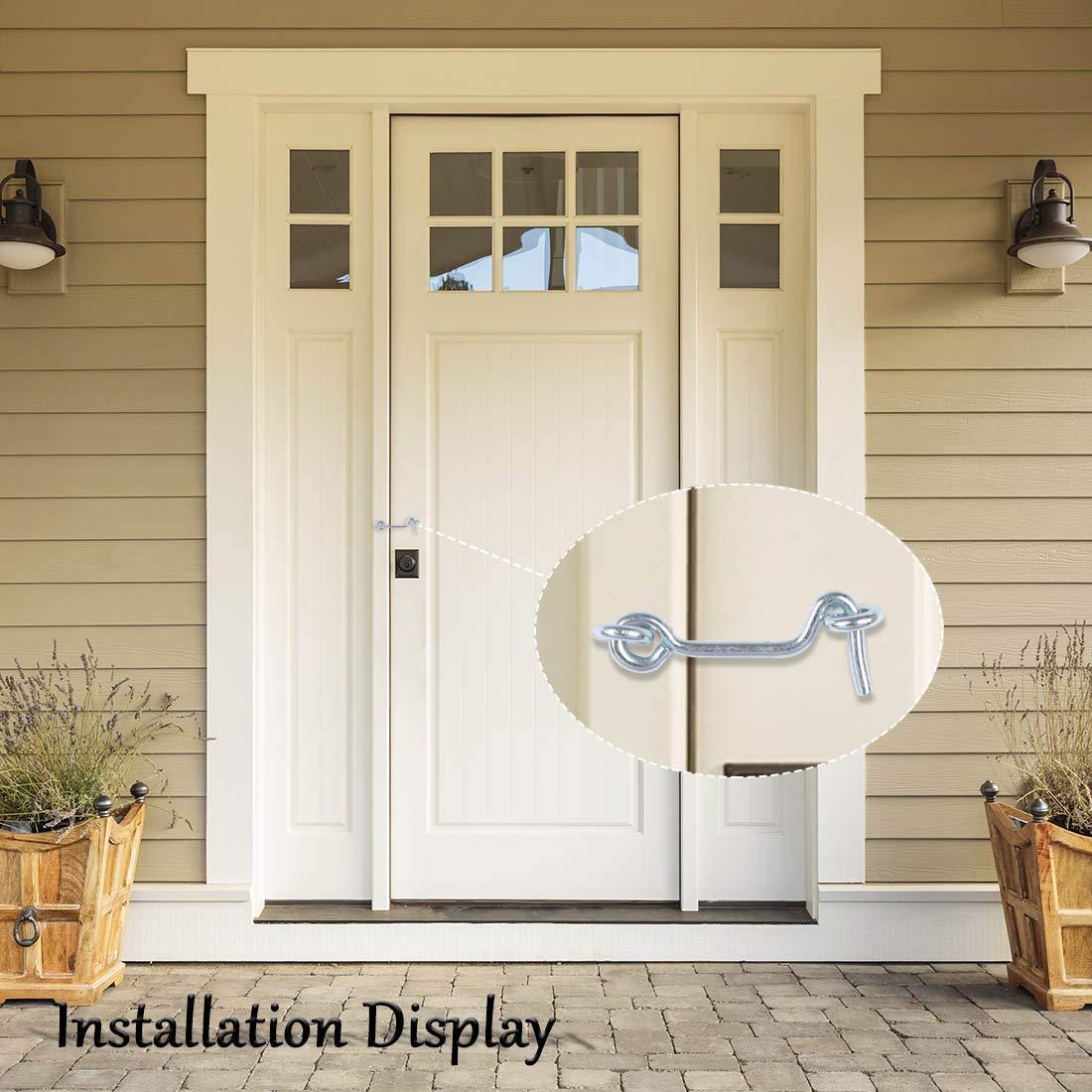 uxcell/® 2 Inch Cabin Hook Eye Latch Privacy Hook Door with Screw Lock Plating Finish for Gate Shutters Window Slide Barn Door 3 Pack