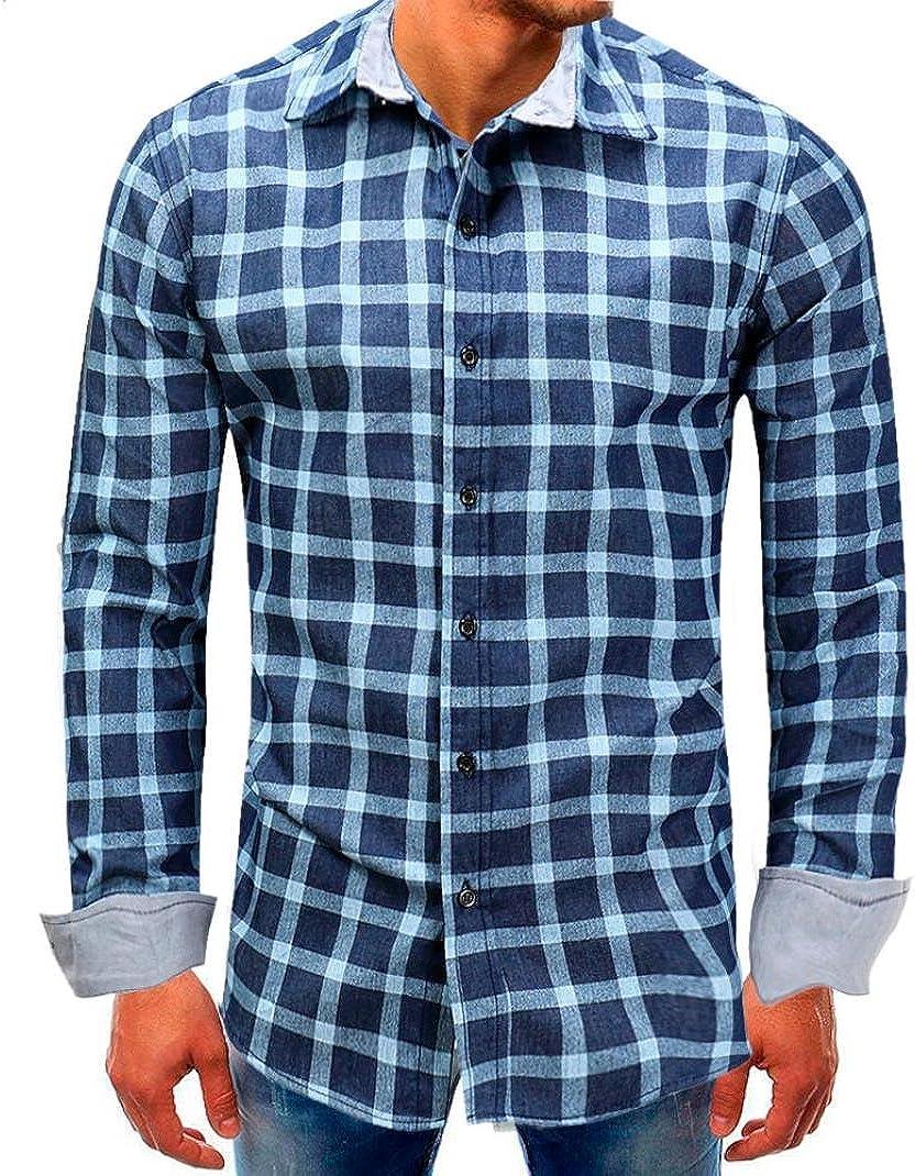 Longay Men Lattice Buttons Shirt Long Sleeve Tall and Big Blouse Top
